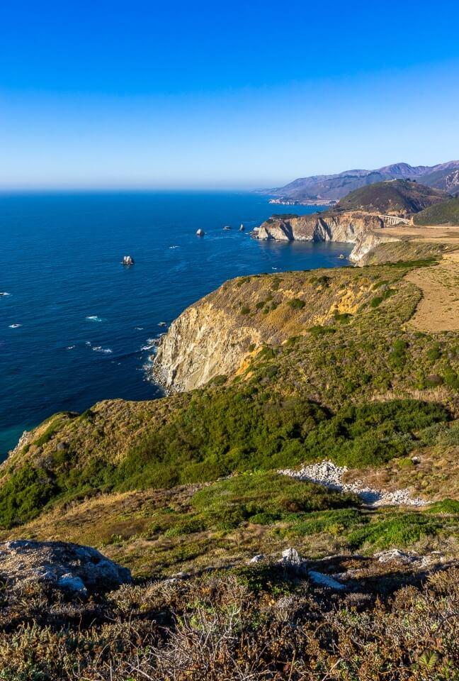 California's Pacific Coastline along Highway 1 deep blue ocean and cliffs