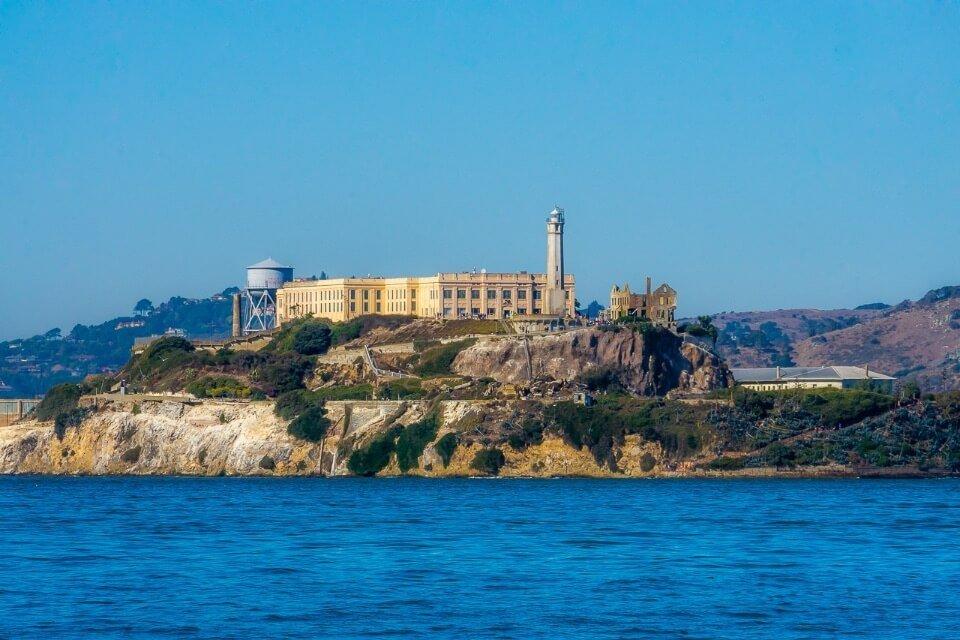 famous picture of america Alcatraz island solitary in san francisco bay