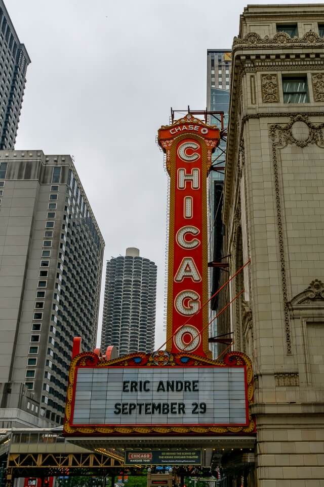 Famous Chicago sign on side of a building in downtown chicago illinois