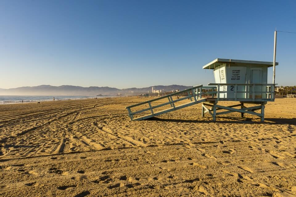 Santa Monica and Venice beaches in los angeles california life guard hut famous images from usa