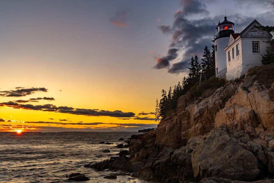 Stunning sunset at bass harbor lighthouse in acadia national park maine usa incredible pictures of america northeast