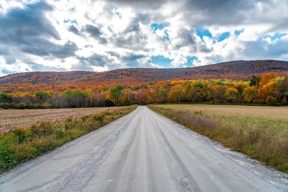 Open road leading to hills filled with colorful foliage trees in vermont usa