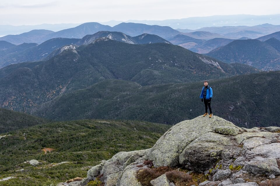 Mark at the summit of Mount Marcy hike in new york adirondacks mountains awesome rolling mountains picture of america