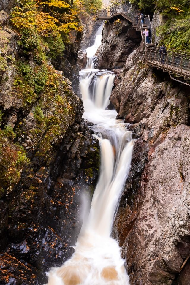 Waterfalls at high falls gorge near lake placid in new york is a stunning image