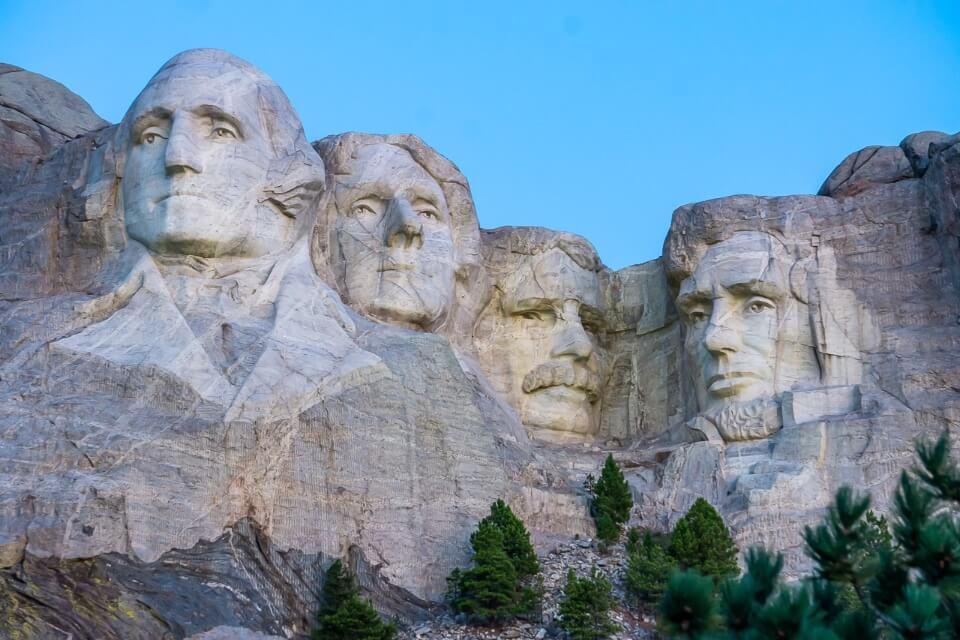 Mount Rushmore in south dakota before sunrise grey stone color