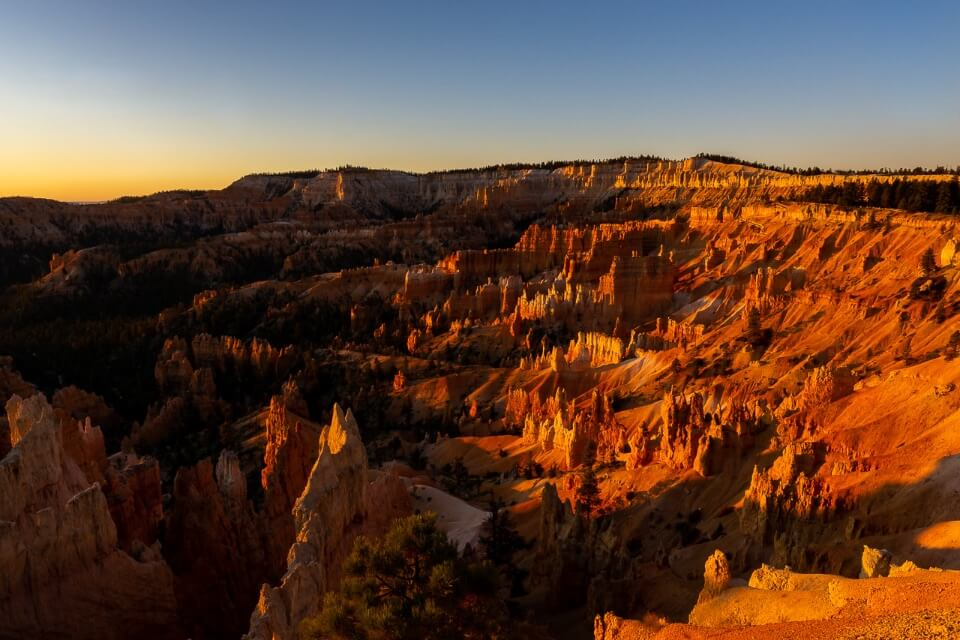 Stunning red sunrise over bryce canyon amphitheater utah national parks usa awesome pictures of america