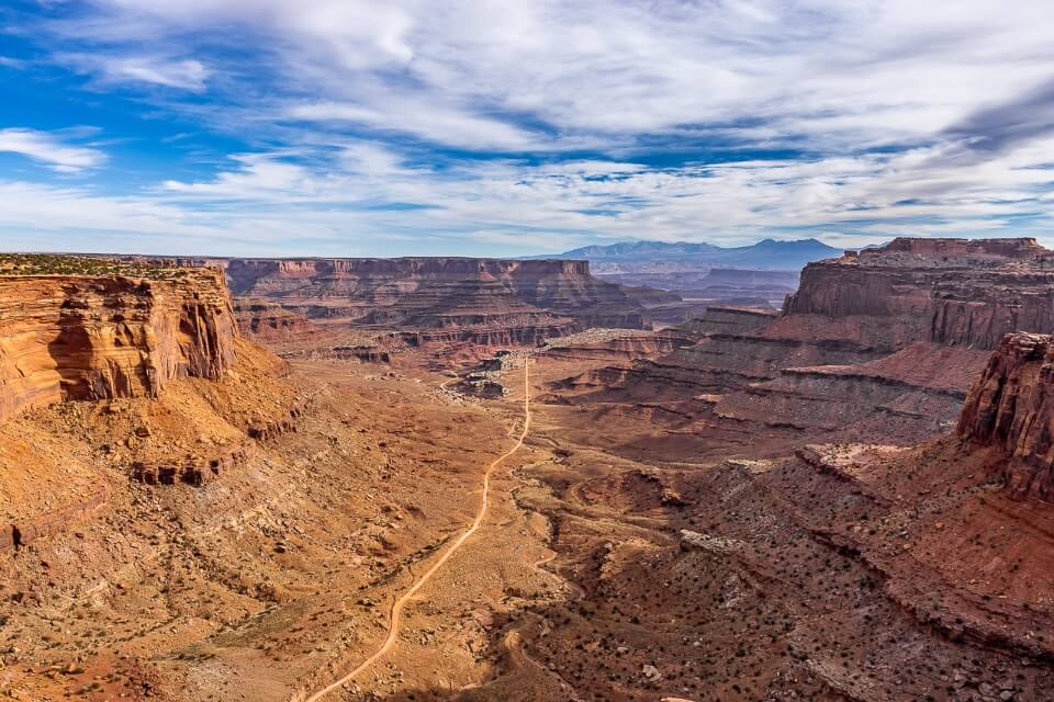 Schafer trail running through a canyon in canyonlands national park utah usa awesome view