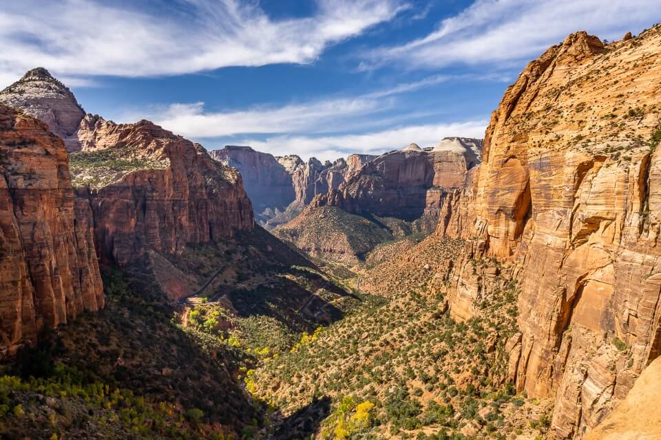More epic views at zion national park in utah canyon overlook near tunnel entrance huge wide open canyon