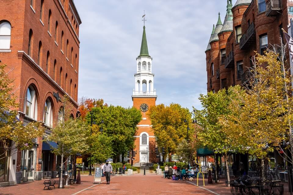 Famous church picture on church street in burlington vermont america