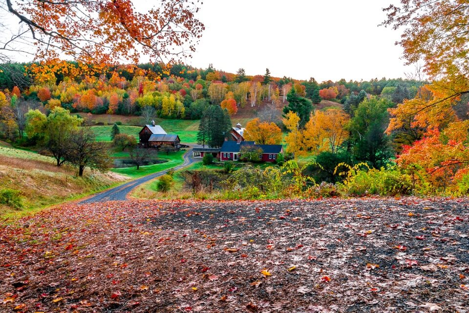 Sleepy Hallow farm famous fall foliage picture near woodstock vermont united states