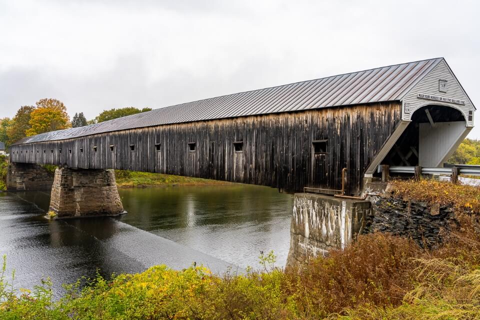 Stunning long wooden covered bridge between Vermont and New Hampshire near Woostock