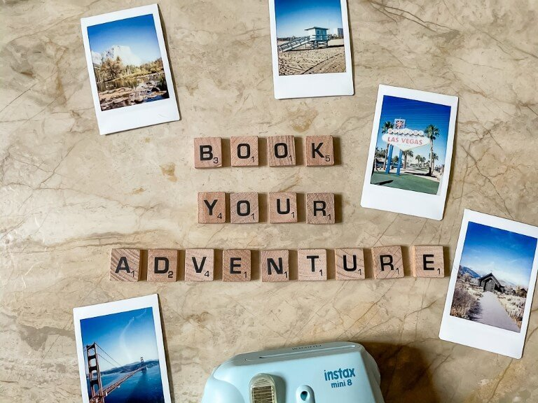 Book Your Adventure scrabble tiles with instamax photos around the United State - section 2 of planning a trip begins with making some bookings to seal the deal