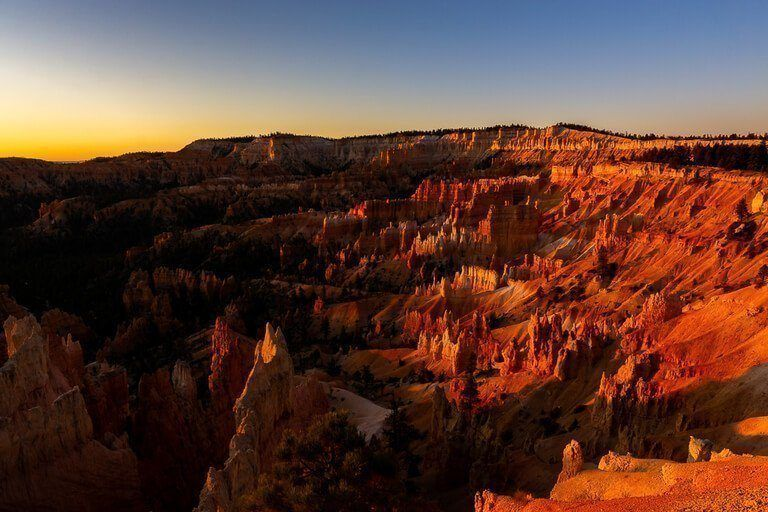 Beautiful sunrise at Bryce Canyon amphitheater one of the best sunrise photography locations in Utah