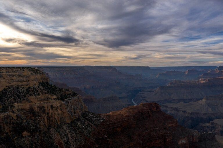 Sunset at Hopi Point in the Grand Canyon incredible view over the canyon and colorado river