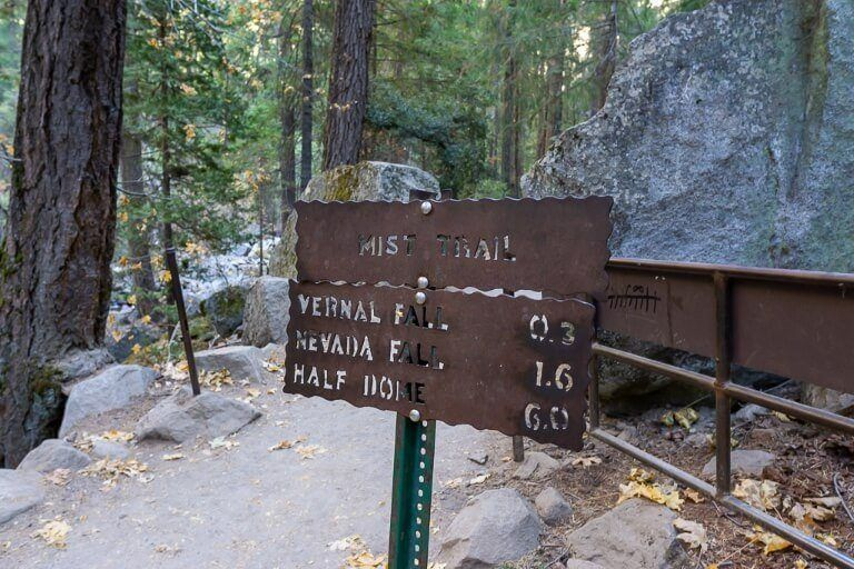 Split in trail where john muir turns to right and mist trail continues straight along merced river