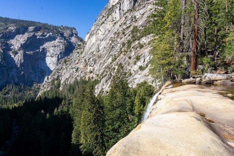 The top of Vernal Fall very low on water but nice view into the valley