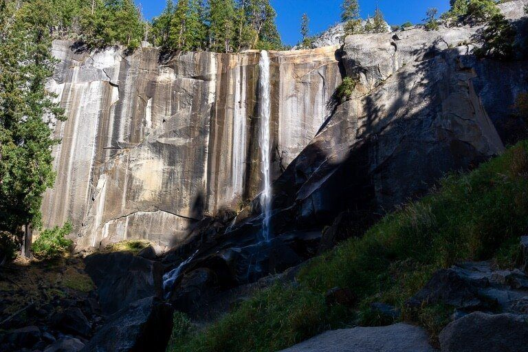 Vernal Fall running very low in autumn and in shadow early morning