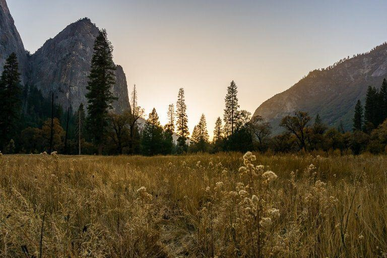Yellow glow at sunset in yosemite national park with meadows and granite domes amazing photography location