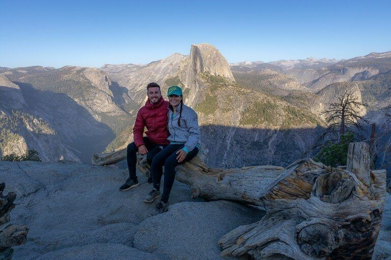 Mark and Kristen Glacier Point with Half Dome in background close to sunset
