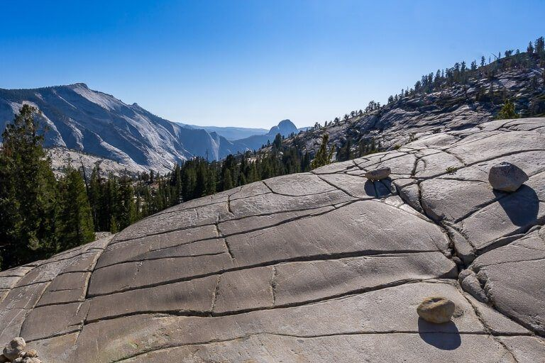 Olmsted Point smooth flat granite rock surface with giant cracks