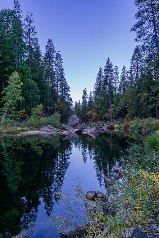 Merced River at dawn before sunrise with trees reflecting symetrically