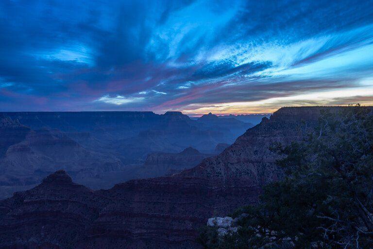 Deep blue colors in the sky along South Rim Arizona