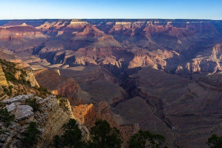 Yavapai Point looking West at the Grand Canyon with amazing scars in the earth at sunrise and also a good place to watch sunset later in the day