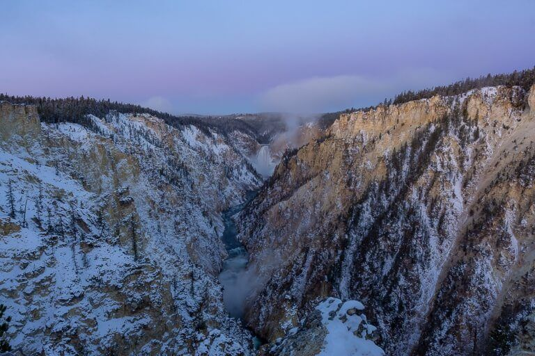 Yellowstone Falls in grand canyon of the yellowstone at sunrise in on a road trip from salt lake city and grand teton