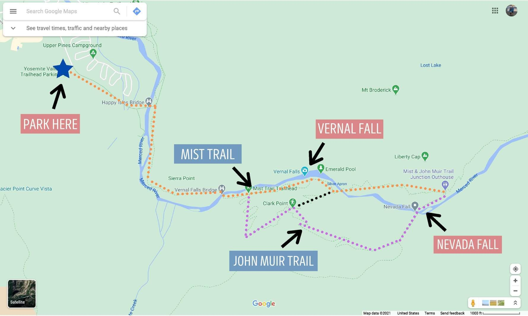 Yosemite Mist and john muir loop trail map showing directions passing vernal fall and nevada fall with parking