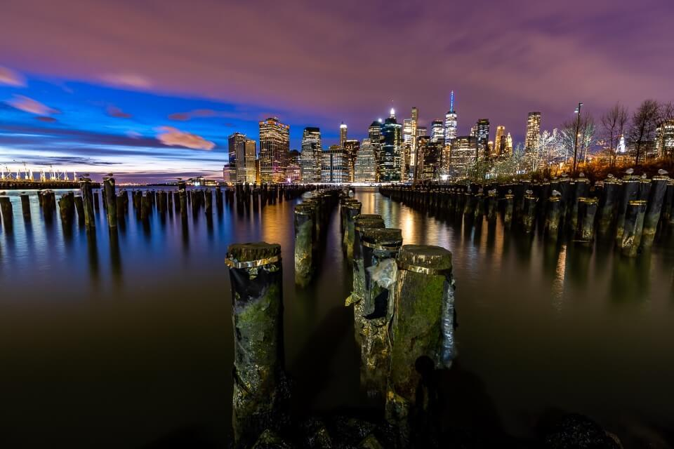 Old Pier 1 remains one of the best photography locations in new york city manhattan skyline in distance