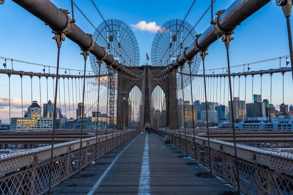 Brooklyn Bridge sunset walking across alone with no tourists in NYC
