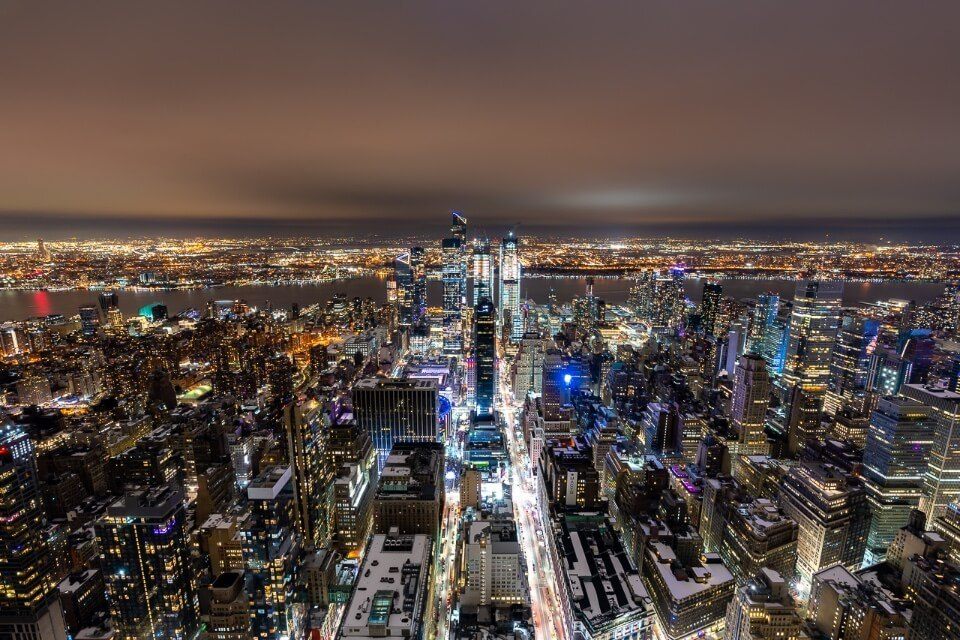 Empire state building observation deck view over hudson yards and the edge one of the best new york attractions on CityPass and C3 pass