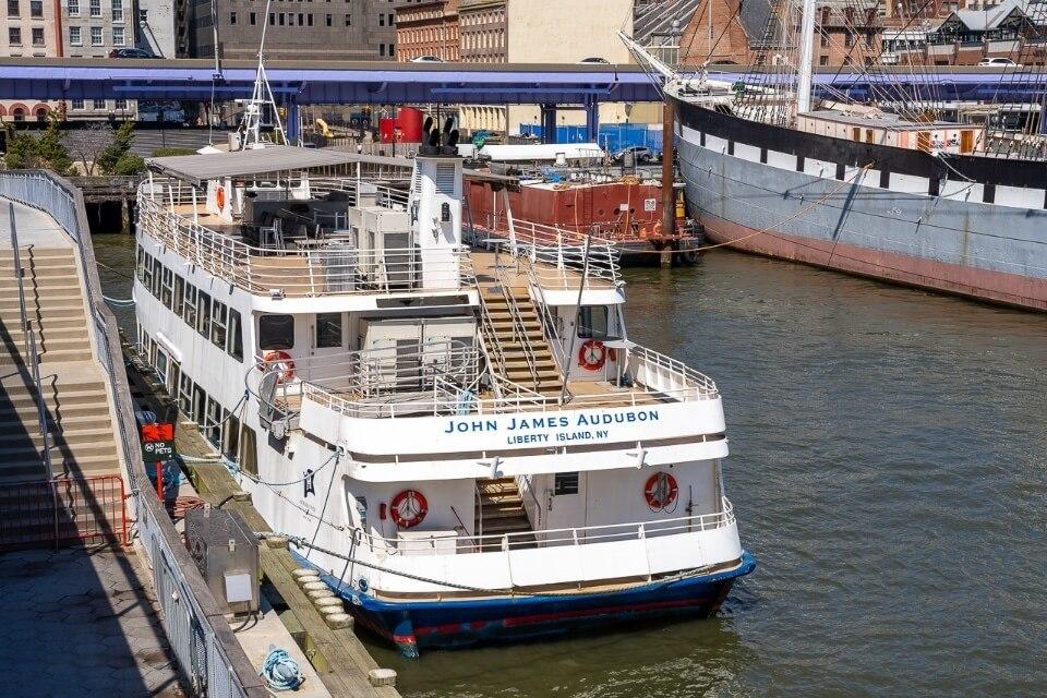 Hornblower cruise docked in pier 15 lower manhattan