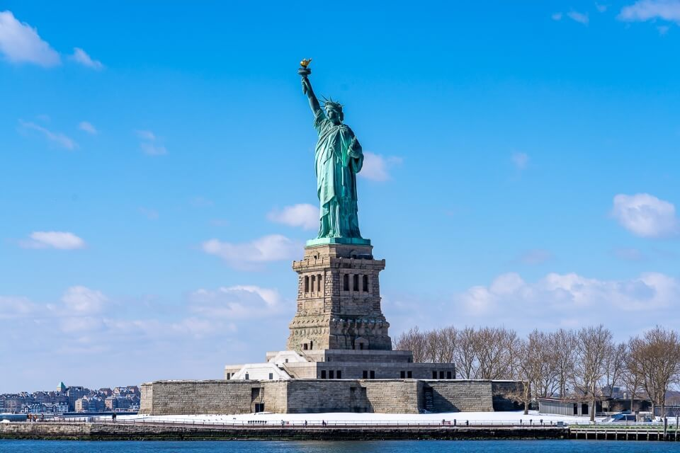 Famous new york city landmark from the River Hudson and clear sky