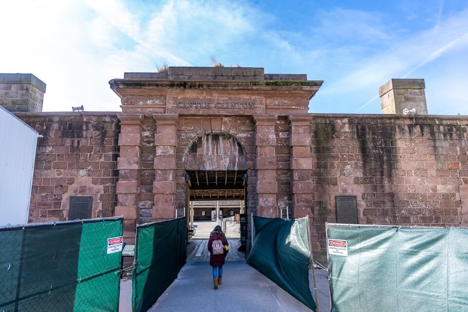 castle Clinton in battery park is an old fort and now where you buy tickets for the statue of liberty ellis island ferry and the ferry departs behind