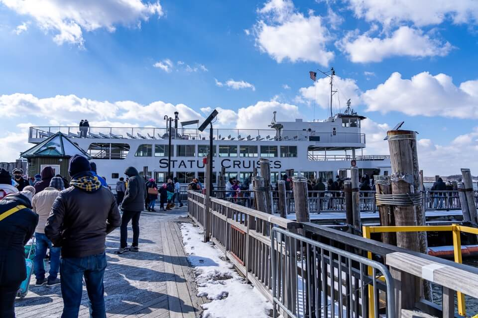 Long line to board a boat in new york city
