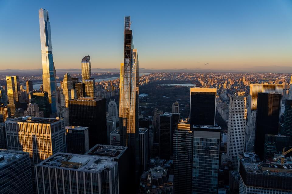 Top of the Rock looking north at Central Park during sunset in new york city