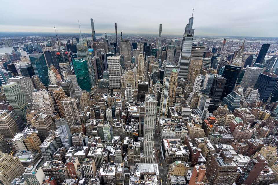 View over top of the rock and northern manhattan plus central park from the empire state building observation deck new york city