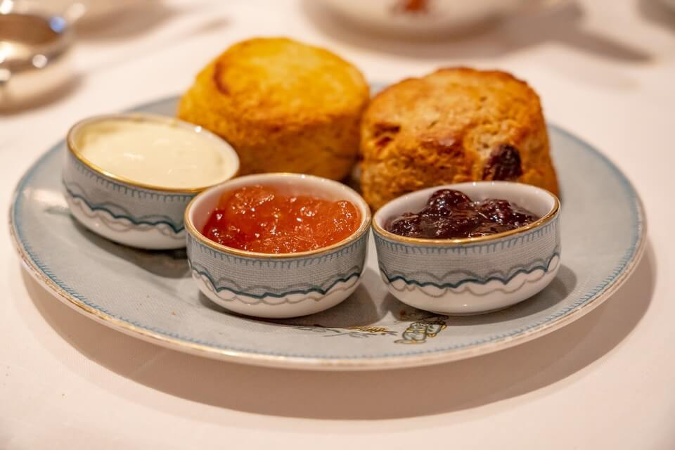 Scones with preserves at afternoon tea in new york city whitby hotel