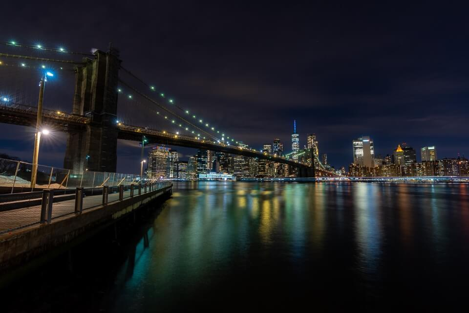 Brooklyn Bridge at night photography from Jane's Carousel in New York City