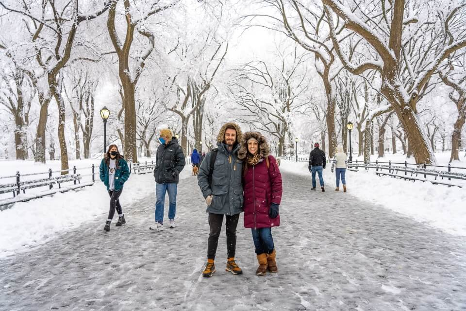 Where Are Those Morgans The Mall in Central Park on a Winter Snow Day in NYC