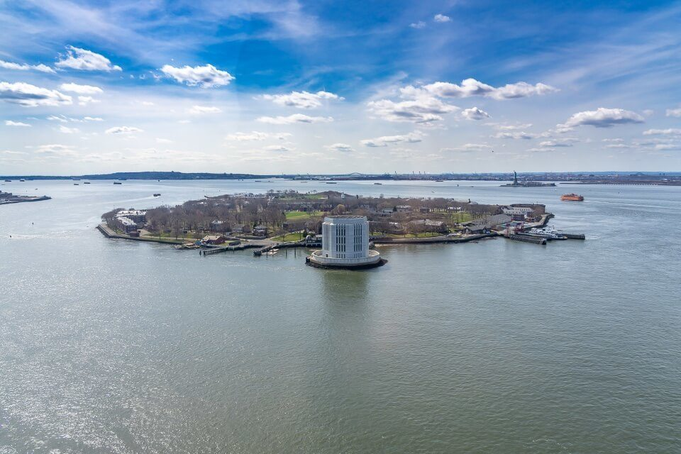 Governors island in the Hudson River new york city from above