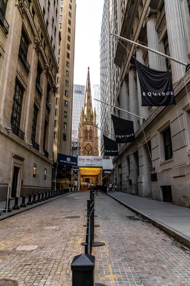 Trinity Church from Wall Street is one of the most well known things to do in lower manhattan new york city