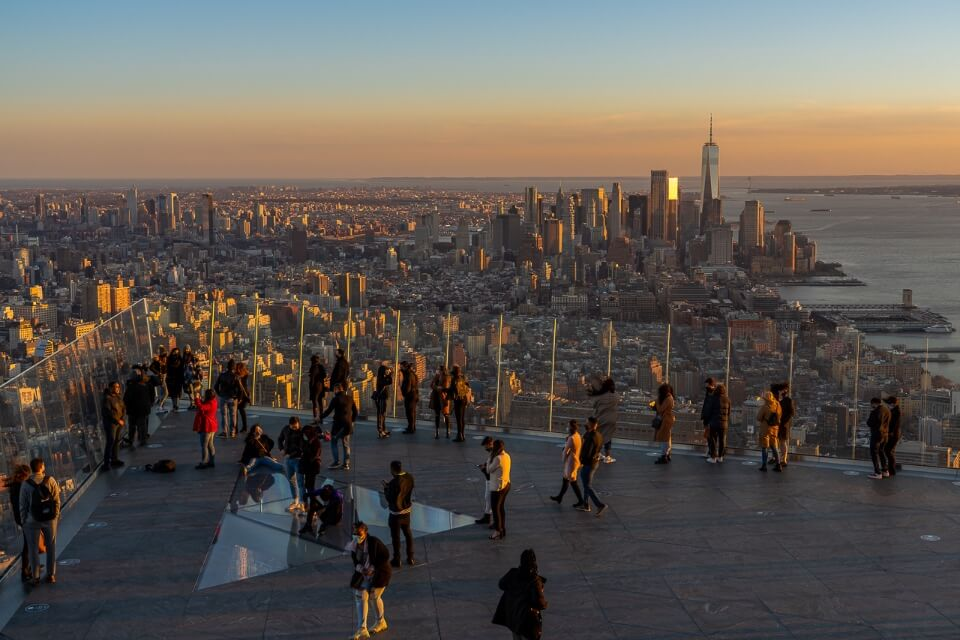 Sunset on the edge at Hudson yards perfect place to visit on a 4 days in new york city itinerary