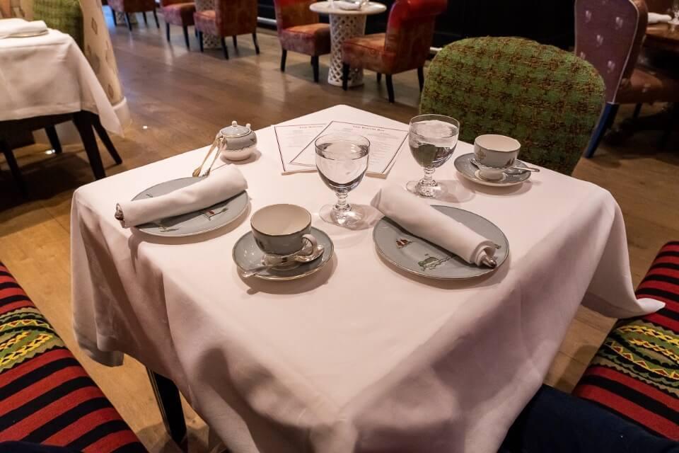 Menu and table placings at the Whitby hotel in new york