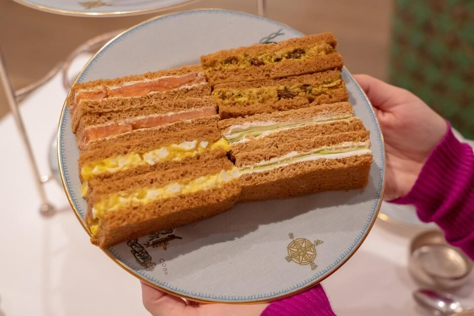 Sandwiches on a plate in manhattan hotel