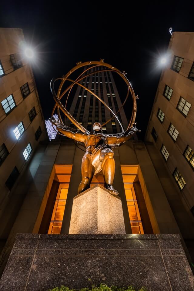 Atlas holding the world on his shoulders outside rockefeller center at night is a great shot to take