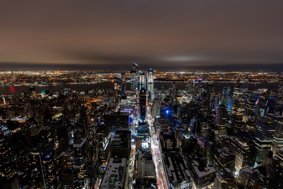 View of the edge at hudson yards at night from empire state building