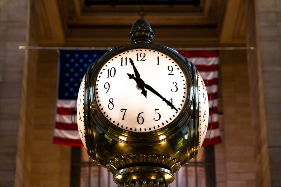 Grand Central clock with american flag behind iconic nyc photography location