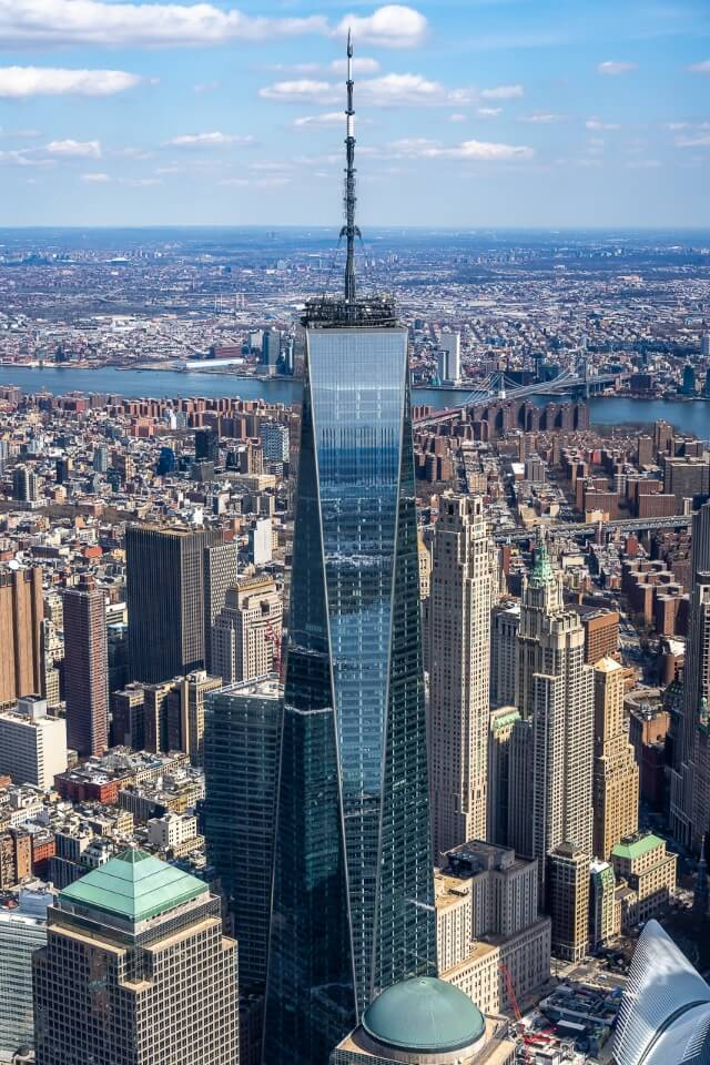 One world trade center close up from helicopter tour